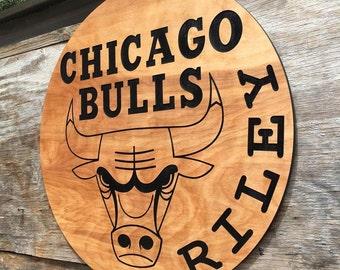 Chicago Bulls NBA Wooden Basketball Wall Decor Man Cave Wall Hanging