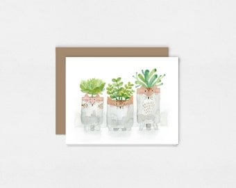Three Potteries Greeting Card | Watercolor Art Print | Mouse, Cat, Fox, and Plants | 5x7