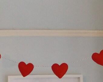 Red Heart Garland, Nursery Garland, Love Garland, Heart banner