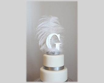 Initial, Letter G Gatsby white and silver feather cake topper