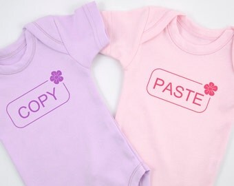 COPY PASTE  Twin Girl Outfits, Funny Twin Clothing, Identical Twins Matching Bodysuits, Purple & Light Pink, Twin Girl Gifts, Baby Shower