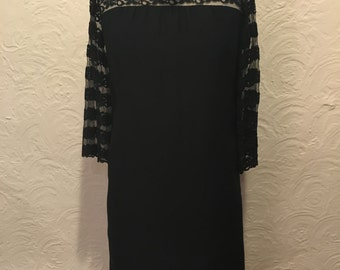1960's Black Dress with Lace Detail