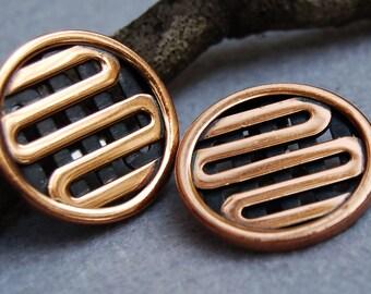 Renoir Copper Clip On Earrings
