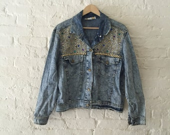 Vintage Acid Wash Bejeweled Denim Jacket | 80s Studded Jean Coat - Sz. Large