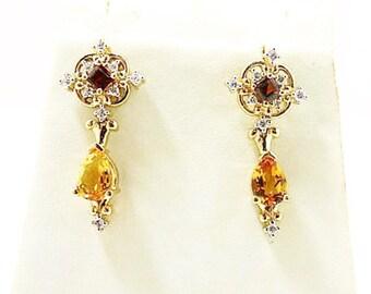 ladies diamond,garnet and citrine quartz chandelier earings