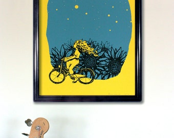 Limited Edition Screen Print 'Night-time Daydream', Large Screen Print, Screen Printed Poster