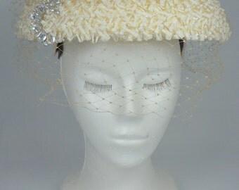SALE!!Stunning Vintage Wedding Hat with Rhinestones
