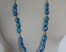 Vintage Blue Lucite Necklace, Blue Acrylic Necklace, Blue Beaded Necklace, Long Blue Necklace
