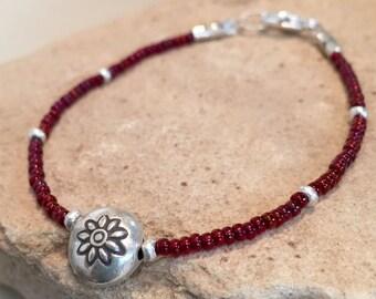 Red seed bead bracelet, single strand bracelet, Hill Tribe silver bracelet, sundance style bracelet, boho bracelet, unique bracelet