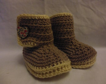 Snuggly Boots age 3-6mths -  Ready to Ship, shower gift, newborn gift, baby girl