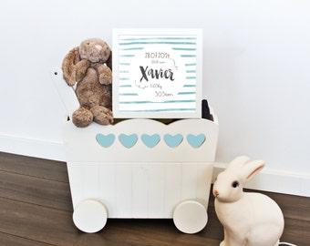 Personalized newborn gift, Birth announcement art print, baby announcement wall art, baby shower gift, newborn gift