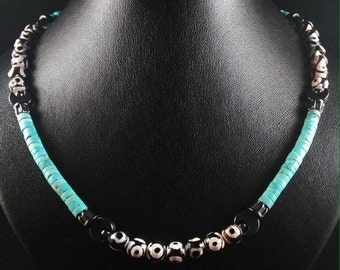 Agate necklace Galaxy and turquoise