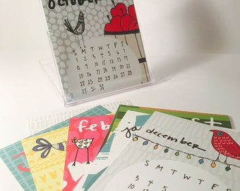 SALE Mini 2017 Desk Calendar with display case - Monthly Calendar - 2017 color Calendar - 2017 Desk Calendar - Bird Pattern Calendar