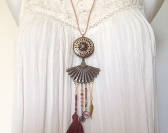 Necklace Boho beads//tassel//charms brown color
