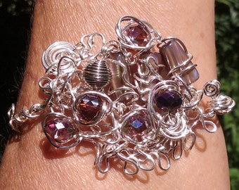"Wire Jewelry, Bracelet, Handmade- Shell, Spiral, Crystal, Silver, Design (L- 8"")"