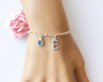 Sterling silver Initial and birthstone bracelet, sterling silver handmade bracelet, silver bracelet, birthstone bracelet, birthday