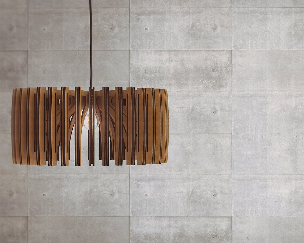 Wood pendant light modern chandelier lighting hanging for Ceiling lamp wood