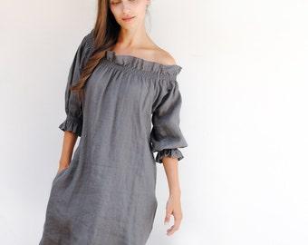 Linen off shoulder dress, loose linen tunic dress, plus size linen tunic dress, linen womens clothing, linen tunics for women