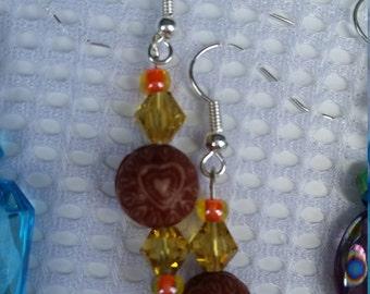 Brown heart beaded earrings