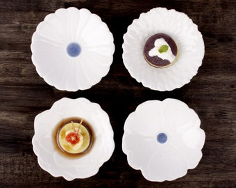 Handmade small plate, porcelain, hand painted, four different shape plates(4piece/set)