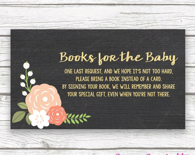 Bring a Book Instead of a Card Baby Shower Insert, Stock Baby's Library, Chalkboard Gold Floral, Printable Girl Shower Invitation Insert