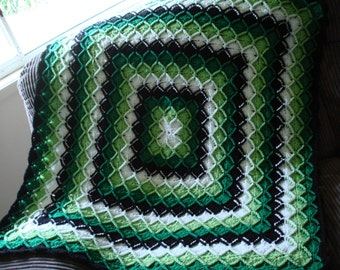 Baby Blanket done in Bavarian Stitch in Light and Dark Green, White and Black 8 ply Acrylic Yarn
