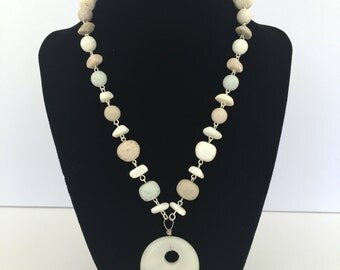 White Stone Necklace - Stone Necklace - Beachy Necklace
