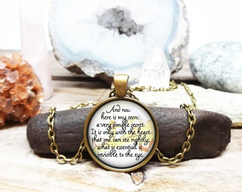 The Little Prince Necklace Little Prince Quote Little Prince Pendant Antoine de Saint Exupéry quote only with the heart antique gold
