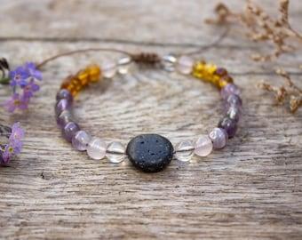 Meadow Aromatherapy Gemstone Bracelet, Amethyst, Baltic Amber, Essential Oil Diffuser Jewellery ,Lava Rock Jewelry, Vegan, Boho  #AB1006