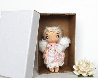 Tiny angel cloth doll Blonde girl Pocket doll Rag doll Handmade small souvenir Sweet soft dolls Tiny White angel wings 4 inch angel Angelina