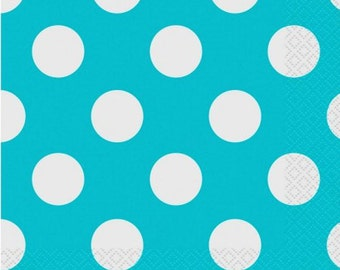 Teal Polka Dot Luncheon Paper Napkins 2 Ply 45ct