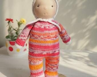 DUNIASHA Baby - waldorf baby doll, hand knitted doll, cloth doll, waldorf toy, rag doll, soft toy, toddler doll, kids gift