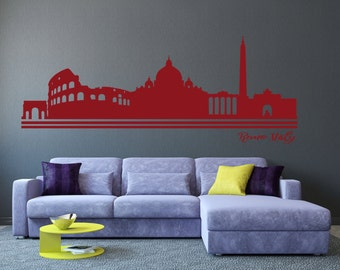 Rome Italy City Skyline Silhouette - Wall Vinyl Stickers