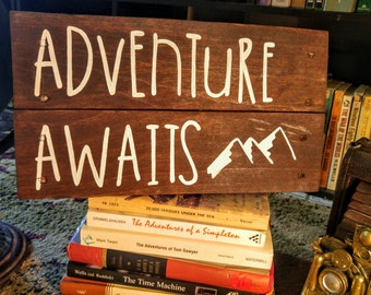 "Rustic ""Adventure Awaits"" Pallet Sign"