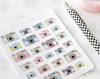 Camera stickers - 25 cute glossy decorative planner stickers, scrapbooking, journaling