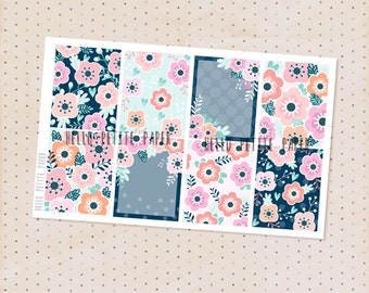 Decorative full box stickers - Bloom collection / 8 floral matte planner stickers