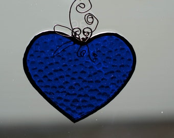 Large Blue Stained Glass Heart