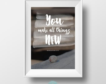 Revelation 21:5, Wall Art Print, Instant Download, Egg, Life, Verse