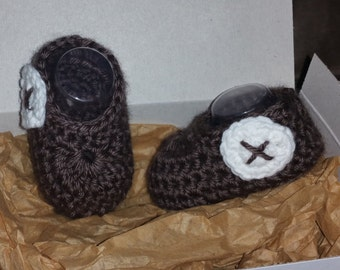 0-3 month brown baby slippers
