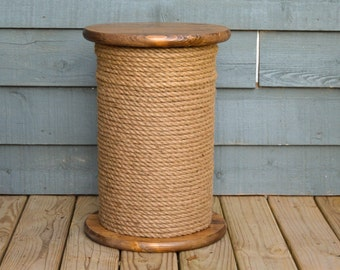 Nautical Decor, Storage Table, Stool, End Table, Beach House, Jute Rope