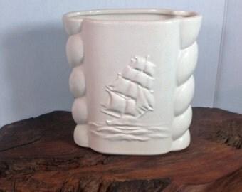 Clipper Ship White Vase, Vintage Abingdon Boat Vase, Pirate Ship Ceramic Vase , Abingdon Made in USA Ship Vase