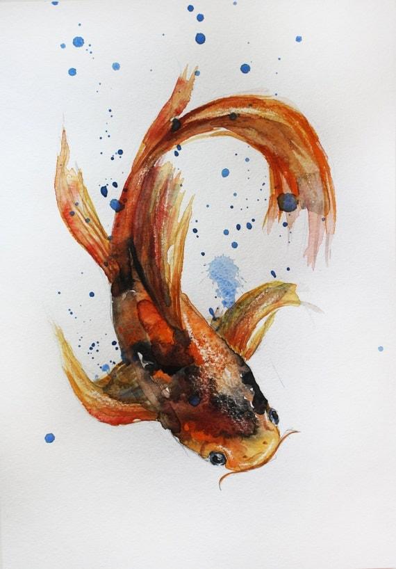 Original watercolor painting koi fish gold fish sea room for Koi carp artwork