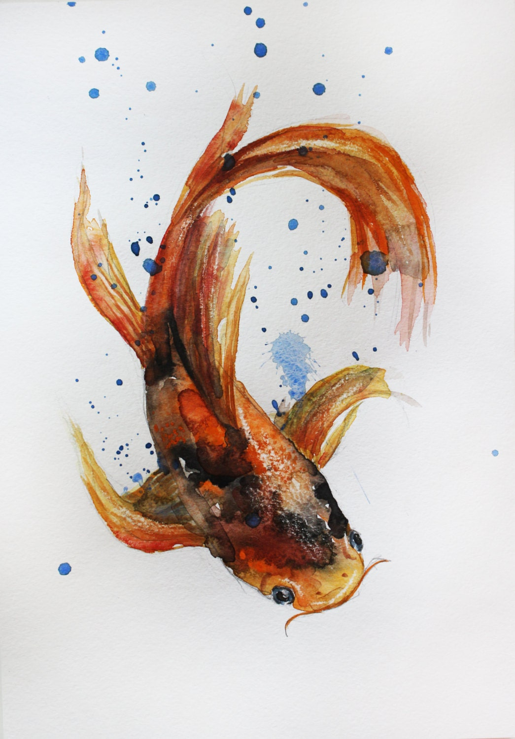 Original watercolor painting koi fish gold fish sea room for Koi fish artwork