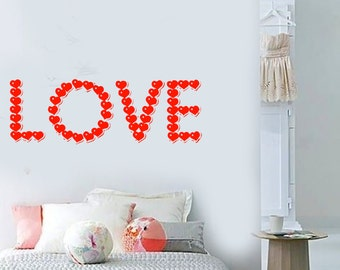 Wall Vinyl Decal Love Words in Hearts Symbols Of Love Quote Love Modern Abstract Home Art Decor (#1173dz)
