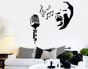 Wall Decal Music Black Woman Microphone Notes Vinyl Sticker Mural Art 1585dz