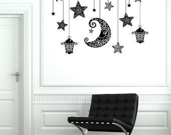 Wall Decal Moon Stars Light Romantic Mural For Bedroom Vinyl Decal Sticker 1890dz