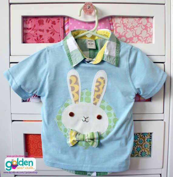 Easter Bunny with Bow Tie, Boy Spring Tee