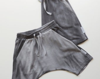SALE, Toddlers Harem Shorts, Boy Girls Harem Shorts, Hipster Toddlers Shorts, Grey Cotton, Last ONE Size 18-24M - PetitWild