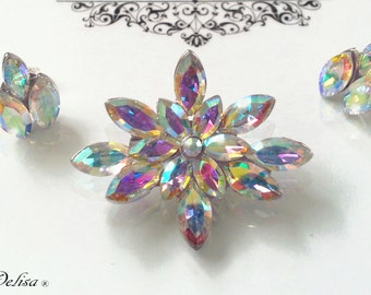 Aurora Borealis Crystal - 1950 vintage - Inspired - Brooch - Aurora Borealis Earrings