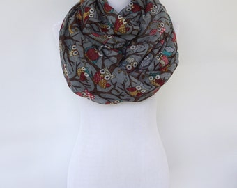 Gray Owl Infinity Scarf, Summer Scarf, Fashion Scarf, Women's Scarf, Gift For Her, Boho Scarf Shawl, Bohemian Accessories, Gifts
